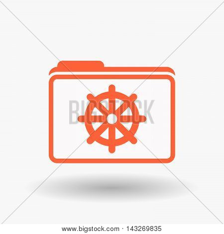 Isolated  Line Art  Folder Icon With A Dharma Chakra Sign