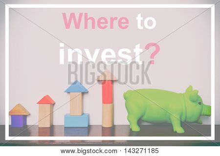Where to invest piggy bag typographic concept in pastel tone. Investing adviser company post banner to introduce customer to invest in Stock Markets and savings.