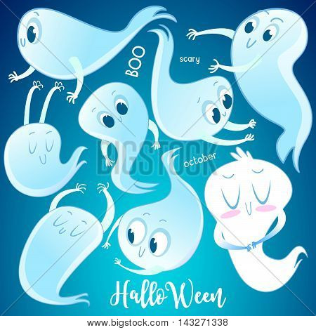 Set of cute cartoon ghosts with different facial expressions on night sky background with text