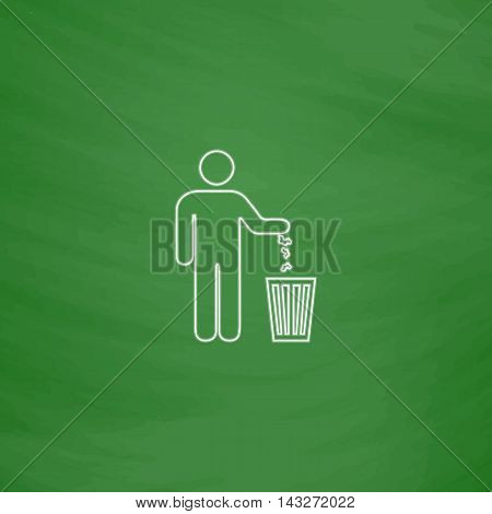 Bin Outline vector icon. Imitation draw with white chalk on green chalkboard. Flat Pictogram and School board background. Illustration symbol