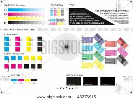 Calibration printing marks the measurement accuracy of color and distance A4 CMYK poster