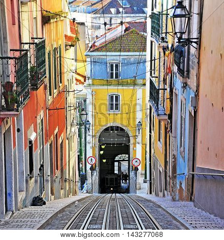 The road of the Bica funicular Lisbon old town Portugal