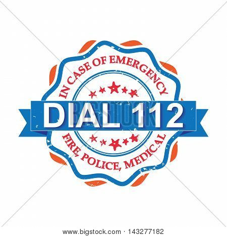 Dial 112 - orange blue grunge label. Fire, Police, Medical - In case of Emergency, dial 112. Grunge stamp / sticker. Grunge layer is applied exactly on the colored stamp.