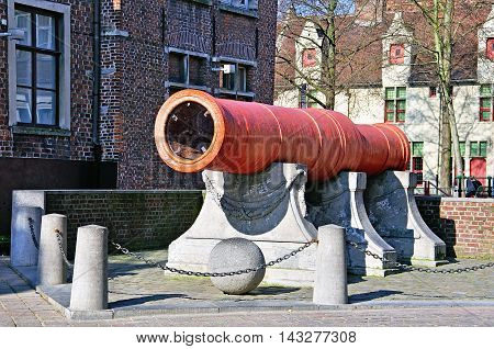 GHENT BELGIUM - MARCH 22: The Dulle Griet cannon in the city centre of Ghent on March 22 2012. - medieval supergun in Ghent Belgium