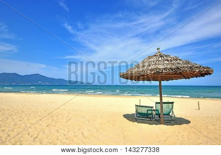 Sand beach of Danang city in Vietnam