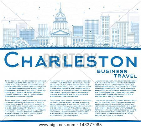 Outline Charleston Skyline with Blue Buildings and Copy Space. West Virginia. Vector Illustration. Business Travel and Tourism Concept with Modern Buildings. Image for Presentation Banner Placard.