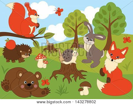 Vector cute cartoon animals in the forest