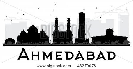 Ahmedabad City skyline black and white silhouette. Vector illustration. Simple flat concept for tourism presentation, banner, placard or web site. Business travel concept. Cityscape with landmarks