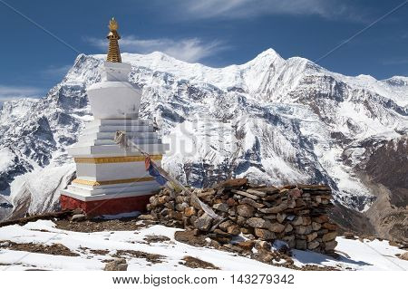 Stupa at Kicho Tal with Annapurna II peak on background Annapurna Circuit Annapurna Conservation Area Manang Nepal.