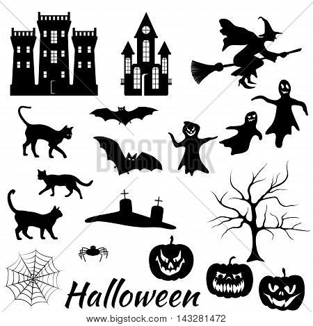 Set of vector halloween silhouette on white background. Black cat, bat and spider, witch, tree, pumpkin, castle and headstone