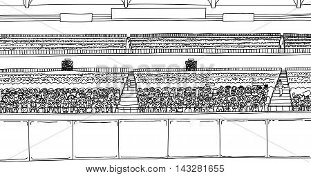 Large Stadium With Spectators As Outline