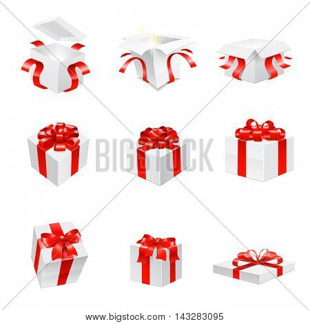 Gift. Vector icon set on white background.