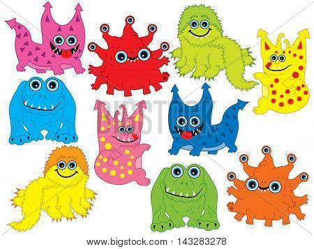 Set of 10 colorful cute monster set