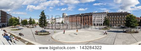 Copenhagen, Denmark - August 19, 2016: People enjoying the summer on the public square called Isreals Plads