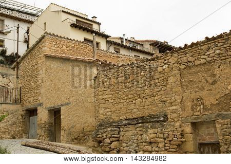 Homes in Monroyo in Teruel, Aragon, Spain.