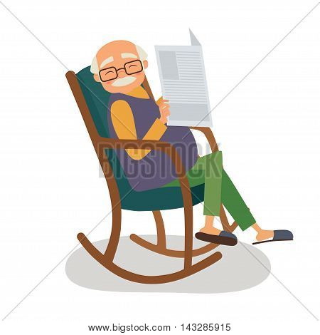 Old man with papernews in his rocking chair. Vector illustration