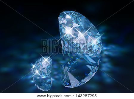 Two diamonds with a blue tint on the reflective surface with caustic.