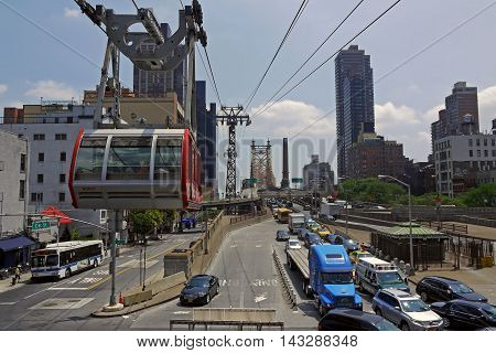 NEW YORK CITY, NEW YORK, USA - JULY 23, 2014: Roosevelt Island cable car