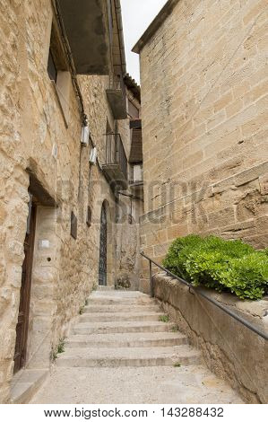 Stairs in Cretas in Teruel, Aragon, Spain.