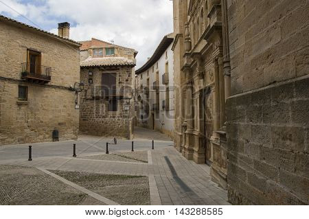 Square in Cretas in Teruel, Aragon, Spain.