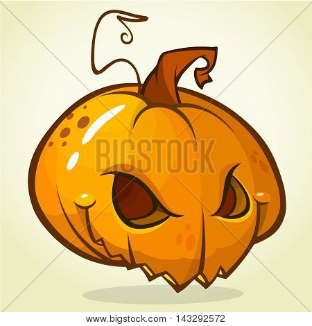 Spooky vector Halloween Jack-o-Lantern head on white background. Pumpkin head isolated