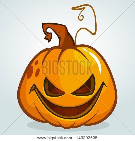 Illustration of a scary halloween pumpkin Jack O Lantern head with smiling expression isolated on white background