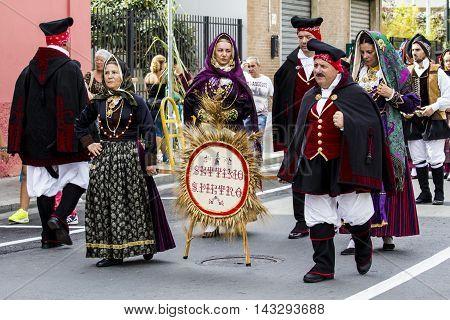 SELARGIUS, ITALY - September 13, 2015: Former marriage Selargino - Sardinia - folk group of Settimo San Pietro
