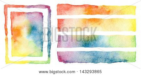 Abstract watercolor painted design elements