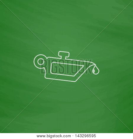 lube oil Outline vector icon. Imitation draw with white chalk on green chalkboard. Flat Pictogram and School board background. Illustration symbol