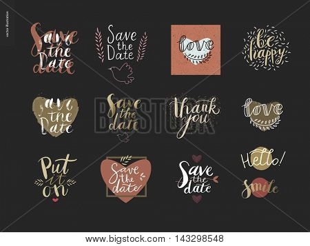 Engagement and wedding writing. Vector cartoon black brush hand written lettering with illustrated elements on wedding and engagement. Save the date, Put it on, Hello, Smile, Love, Be happy, Thank you
