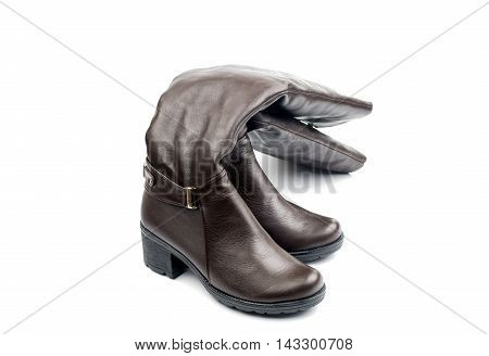 women's leather boots on a white background