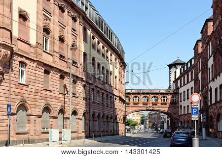 The north wing of the Old Town Hall with the Bridge of Sighs on Braubachstrasse street in Frankfurt am Main Germany. The entire building complex consists of nine houses encircling six courtyards.