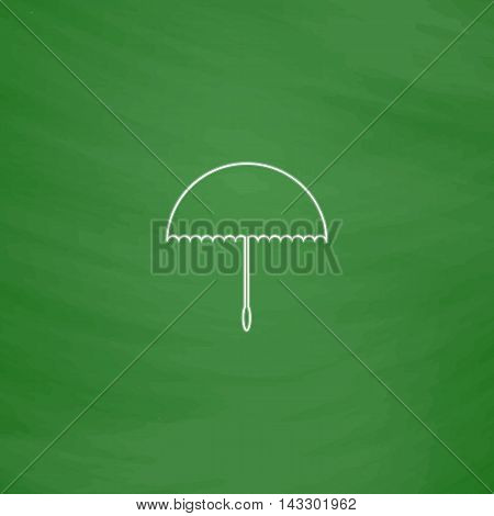 bumbershoot Outline vector icon. Imitation draw with white chalk on green chalkboard. Flat Pictogram and School board background. Illustration symbol
