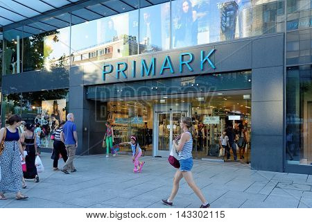 FRANKFURT AM MAIN GERMANY - AUGUST 7 2015: Primark store on Zeil. Primark is an Irish clothing retailer operating in Austria Belgium Germany Ireland Portugal Spain the Netherlands and the UK.