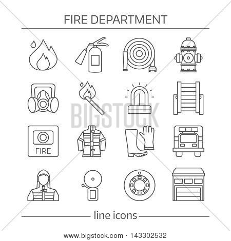 Fire department linear icons set with warning systems protective clothing professional equipment isolated vector illustration