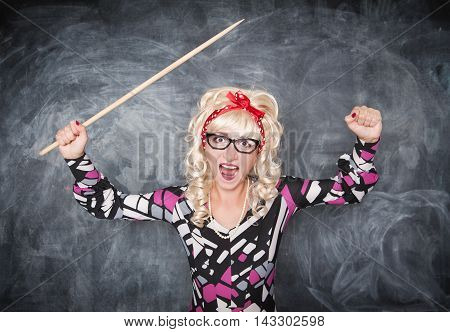 Angry Screaming Retro Teacher With Pointer
