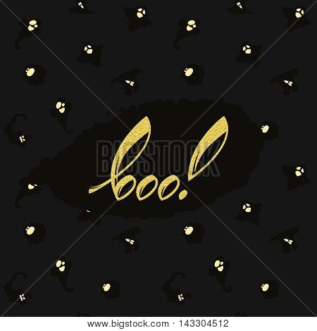 vector halloween background with ghost pattern and hand drawn word boo in speech bubble
