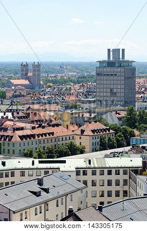 Munich Germany. Aerial view from the New Town Hall. St. Maximilian church in the distance - parish church on the banks of Isar river.