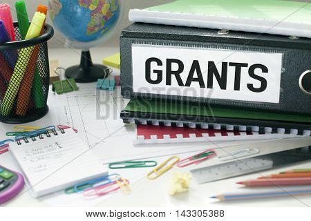 Grants and project funding concept with file on office desk poster