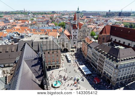 Munich Germany. Aerial view from the New Town Hall of the central square Marienplatz and the Old Town Hall.