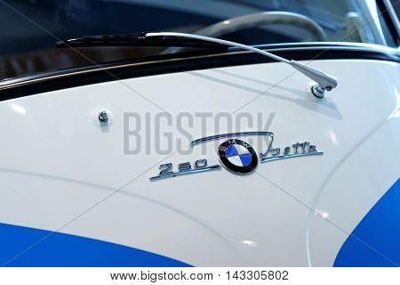 MUNICH GERMANY - 4 AUGUST 2015: BMW Isetta 250 presented at BMW World showroom in Munich Germany.