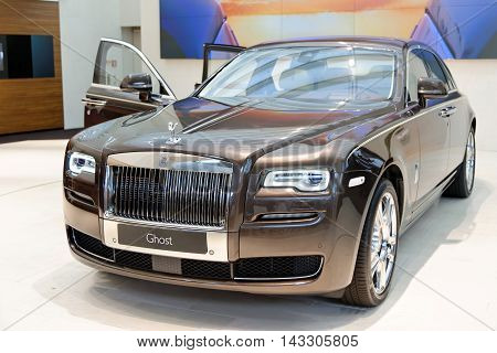 MUNICH GERMANY - 4 AUGUST 2015: Rolls Royce Ghost on display at BMW World in Munich Germany