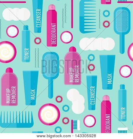 Vector Beauty Products Seamless Pattern