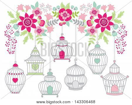 Vector flowers and leaves with bird cages