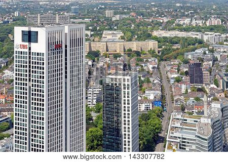 FRANKFURT AM MAIN GERMANY - AUGUST 6 2015: Aerial view of Opernturm and Park Tower skyscrapers from the observatory deck of the Mian Tower. Frankfurt is the largest financial centre in continental Europe.