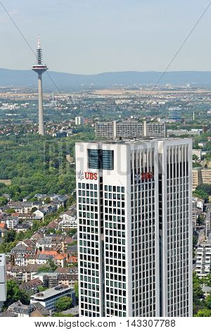FRANKFURT AM MAIN GERMANY - AUGUST 6 2015: Aerial view of Opernturm and Europaturm from the observatory deck of the Mian Tower. Frankfurt is the largest financial centre in continental Europe.
