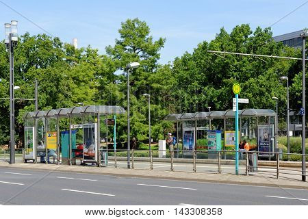 FRANKFURT AM MAIN GERMANY - AUGUST 7 2015: The Festhalle and Messe (Trade Fair) tram stop. Messe Frankfurt GmbH is one of the world's largest trade fair companies.