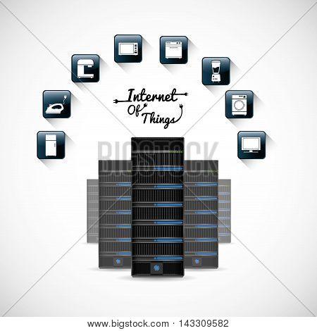 hosting data center internet of things technology digital app appliances icon set. Flat illustration. Vector illustration poster