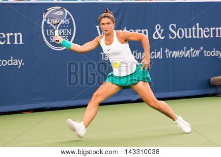 Mason Ohio - August 15 2016: Sara Errani in a first round match at the Western and Southern Open in Mason Ohio on August 15 2016.