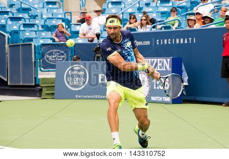 Mason, Ohio - August 15, 2016: David Ferrer in a first round match at the Western and Southern Open in Mason, Ohio, on August 15, 2016.